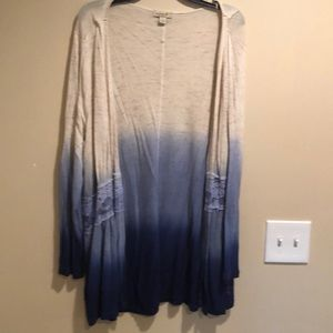 One World Ombré Cardigan with Lace Trim